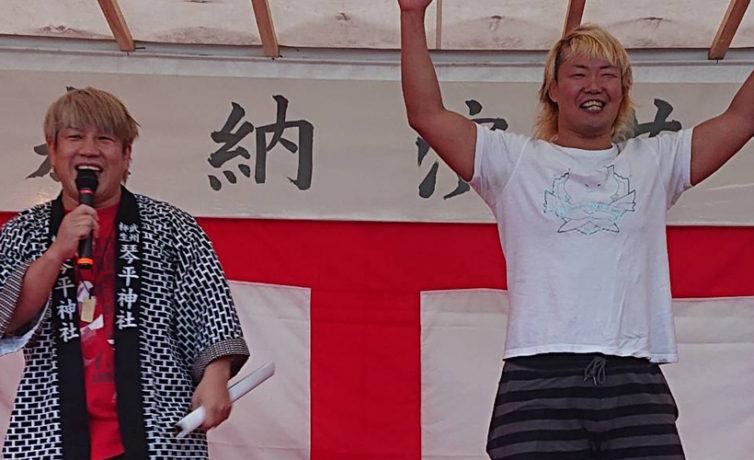 10月14日(月)琴平神社の秋祭りにTAMURA選手、兼平大介選手が参加しました